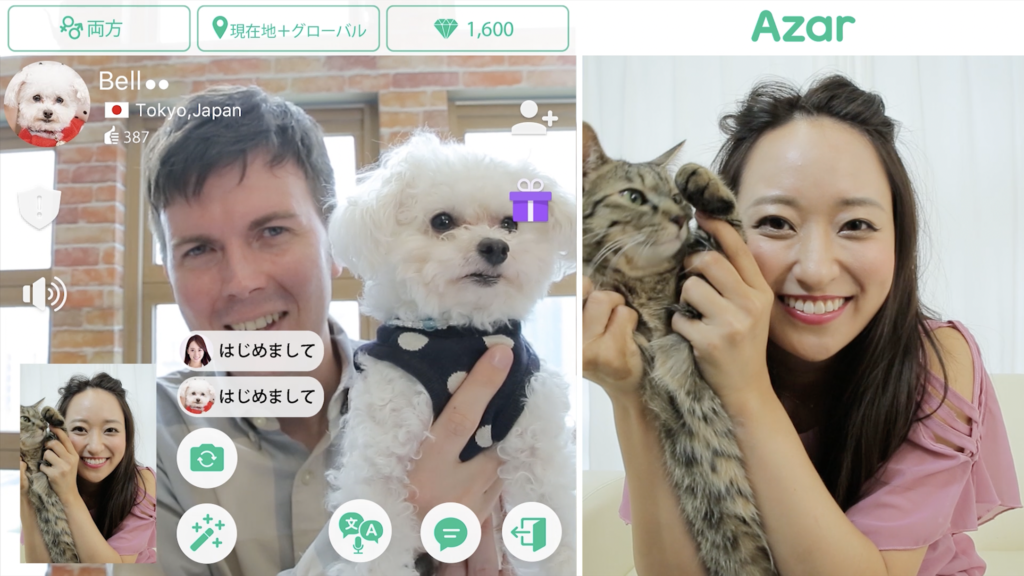 【Azar】 Azarで可愛い犬と猫に会えた!